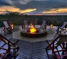 Coucher de soleil dans la réserve Klaserie en Afrique du Sud